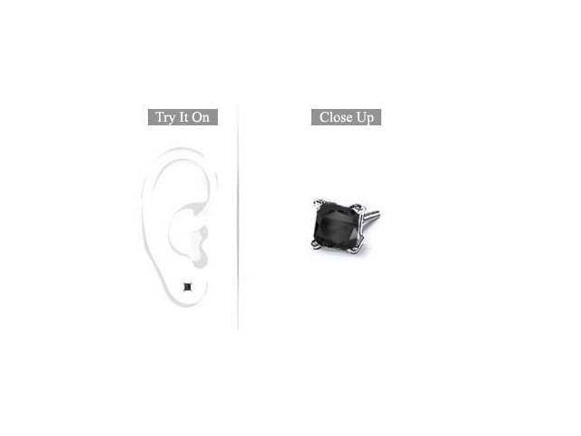 Mens 14K White Gold  Princess Cut Black Diamond Stud Earring - 0.50 CT. TW.