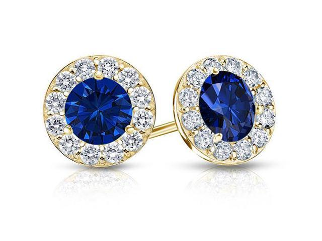 Created Sapphire and CZ Halo Stud Earrings in 14K Yellow Gold 1.00.ct.tw