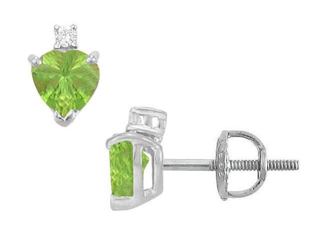 Diamond and Peridot Stud Earrings  14K White Gold - 2.04 CT TGW