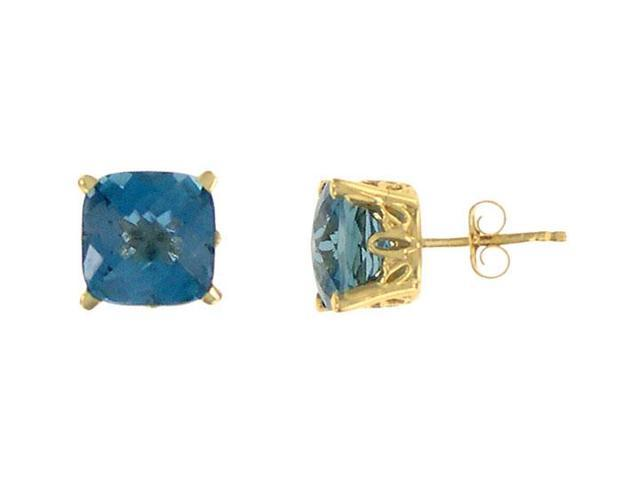 Blue Topaz Earrings  14K yellow gold - 3.00 CT TGW