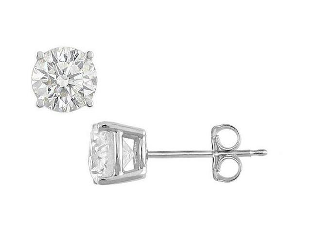 35 Carat Cubic Zirconia Stud Earrings Triple AAA Quality Set in Sterling Silver Prong Mounting