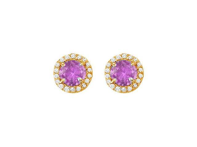 February Birthstone Amethyst and Cubic Zirconia Halo Stud Earrings 14K Yellow Gold 2.25 CT TGW