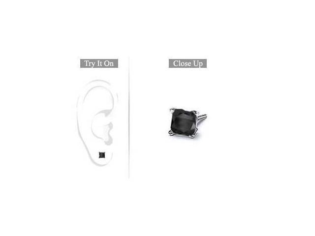 Mens 14K White Gold  Princess Cut Black Diamond Stud Earring - 0.75 CT. TW.