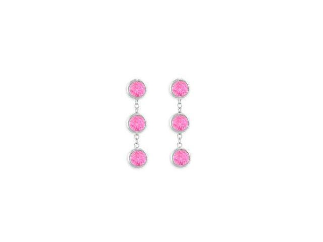 Totaling Six Carat Pink Sapphire Drop Station Earrings in 14K White Gold Bezel Setting