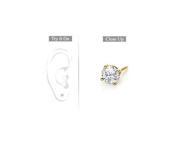 Mens 14K Yellow Gold  Round Diamond Stud Earring - 0.15 CT. TW.