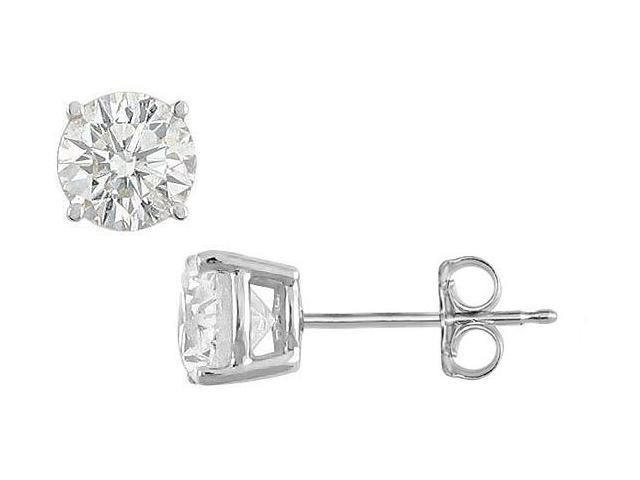 CZ Stud Earrings of Triple AAA Quality Totaling 50 Carat Prong Setting in .925 Sterling Silver