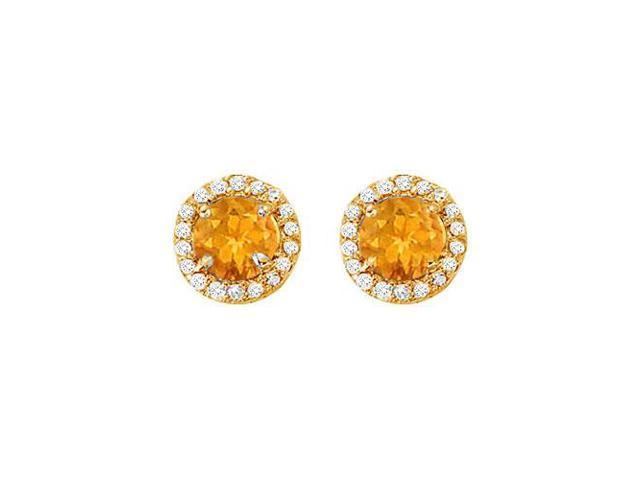 November Birthstone Citrine and Cubic Zirconia Halo Stud Earrings 14K Yellow Gold 2.25 CT TGW