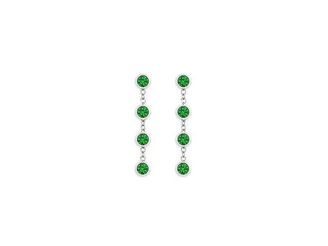 Diamond By Yard Emerald Earrings with Tiffany Inspired Chain in 14K White Gold 1 Carat TGW