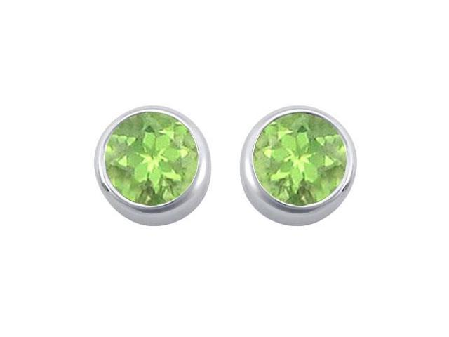 Peridot Bezel-Set Stud Earrings  .925 Sterling Silver - 2.00 CT TGW