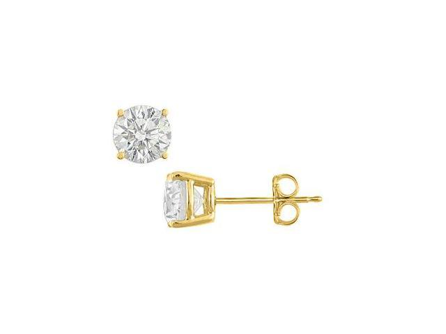 One Carat Cubic Zirconia Stud Earrings in Sterling Silver with 18K Yellow Gold Vermeil