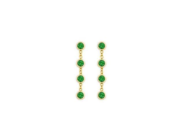 Diamond By Yard Emerald Earrings with Tiffany Inspired Chain in 14K Yellow Gold One Carat TGW