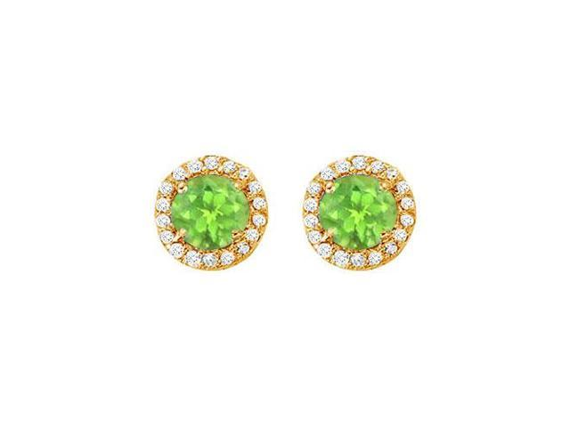 August Birthstone Peridot and Cubic Zirconia Halo Stud Earrings 14K Yellow Gold 2.25 CT TGW