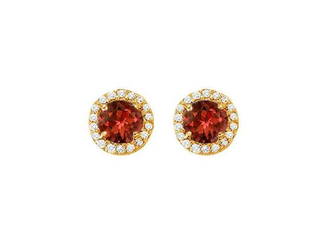 January Birthstone Garnet and Cubic Zirconia Halo Stud Earrings 14K Yellow Gold 2.25 CT TGW