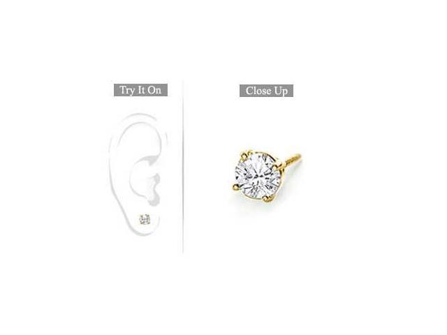 Mens 14K Yellow Gold  Round Diamond Stud Earring - 0.50 CT. TW.