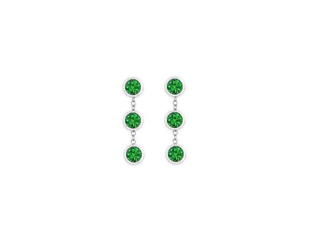 Genuine Green Emerald Station Earrings Bezel Set in 14K White Gold Six Carat Total Gem Weight