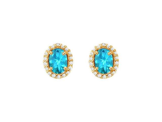 December Birthstone Blue Topaz and Cubic Zirconia Halo Stud Earrings 18K Yellow Gold Vermeil