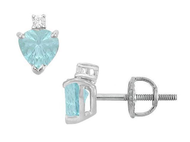 Diamond and Aquamarine Stud Earrings  14K White Gold - 2.04 CT TGW