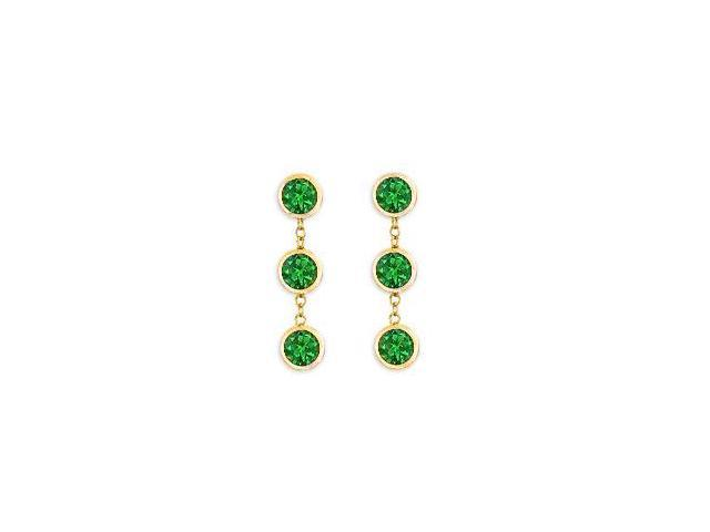 Genuine Green Emerald Station Earrings Bezel Set in 14K Yellow Gold Six Carat Total Gem Weight