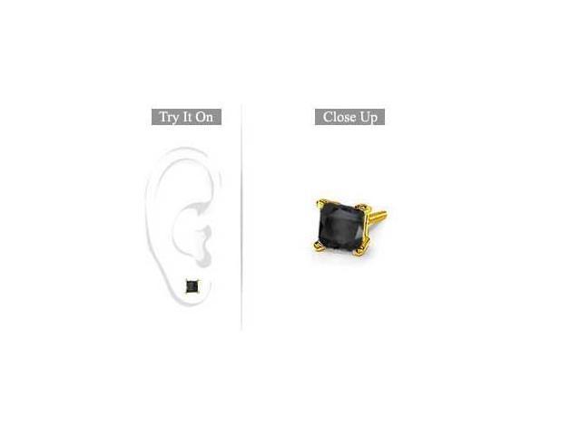 Mens 14K Yellow Gold  Princess Cut Black Diamond Stud Earring - 1.00 CT. TW.