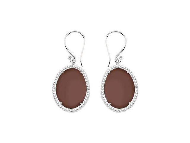 Sterling Silver Chocolate Chalcedony and Cubic Zirconia Earrings 30.16 CT TGW