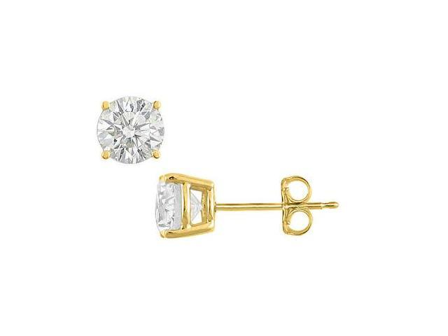 18K Yellow Gold Vermeil Sterling Silver CZ Stud Earrings Totaling  Four Carat Cubic Zirconia