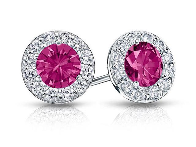 Created Pink Sapphire and CZ Halo Stud Earrings in 14K White Gold 2.00.ct.tw