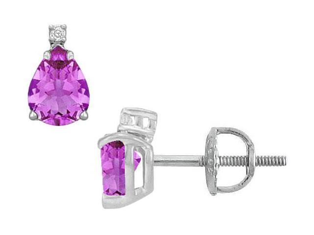Diamond and Amethyst Stud Earrings  14K White Gold - 2.04 CT TGW