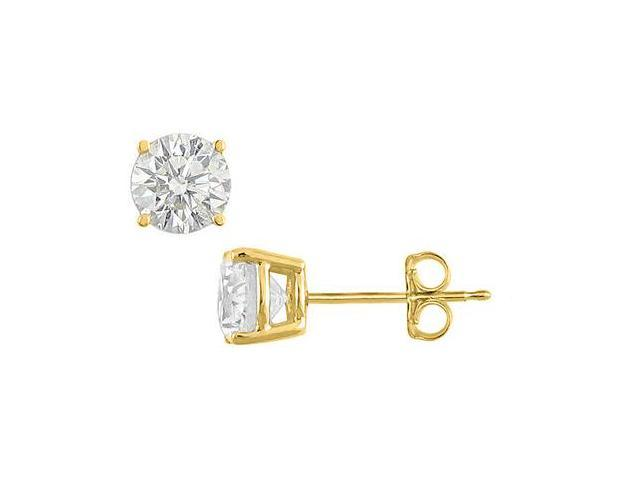 5 Carat Cubic Zirconia Stud Earrings in 18K Yellow Gold Vermeil Sterling Silver Mounting