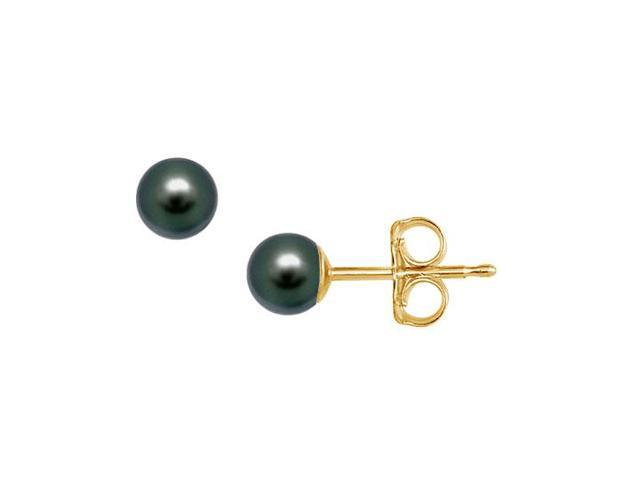 Akoya Cultured Pearl Stud Earrings  14K Yellow Gold  4 MM
