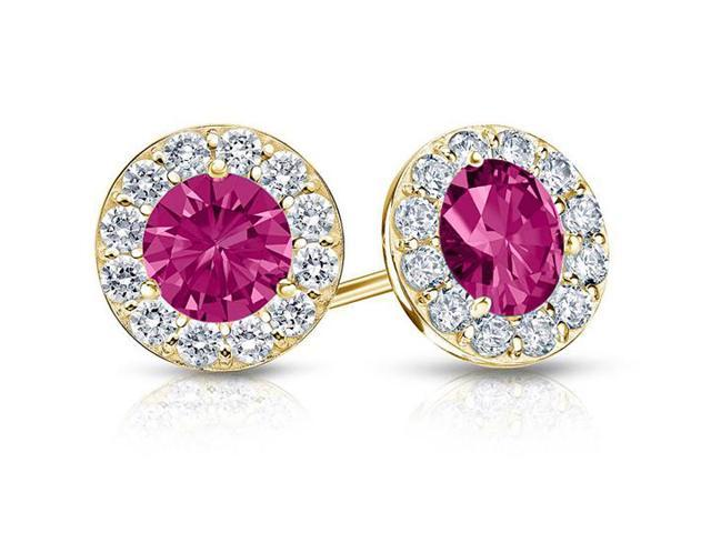Created Pink Sapphire and CZ Halo Stud Earrings in 14K Yellow Gold 1.00.ct.tw