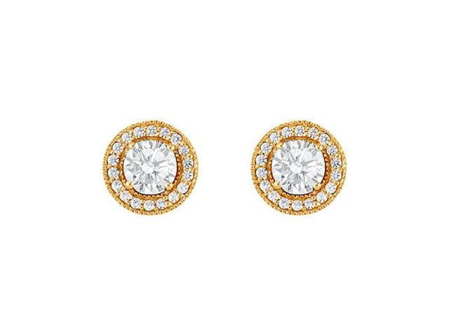 April Birthstone Cubic Zirconia Halo Stud Earrings 18kt Gold Over Sterling Silver 2.50 CT TGW