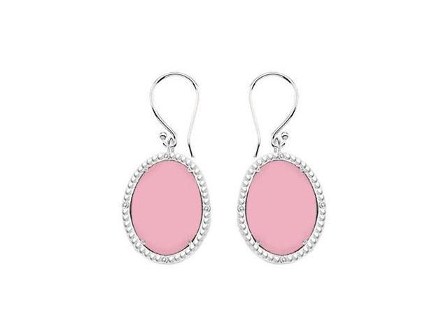 Sterling Silver Pink Chalcedony and Cubic Zirconia Earrings 30.16 CT TGW