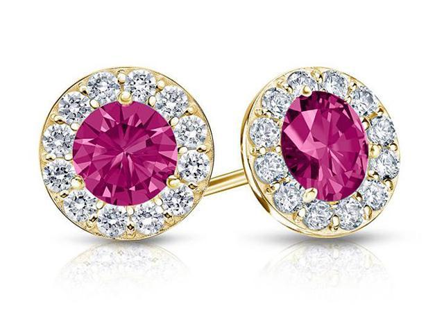 Created Pink Sapphire and CZ Halo Stud Earrings in 14K Yellow Gold 1.50.ct.tw