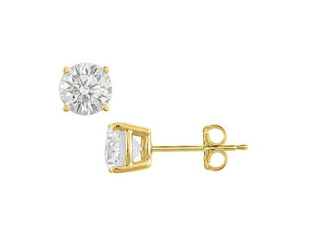 Sterling Silver 18K Yellow Gold Vermeil Cubic Zirconia Stud Earrings Totaling 6 Carat CZ