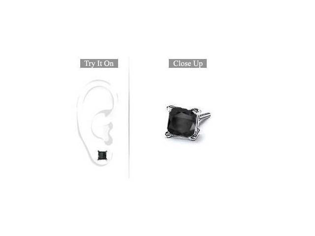 Mens 14K White Gold  Princess Cut Black Diamond Stud Earring - 2.00 CT. TW.