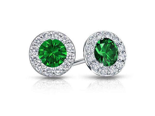 Created Emerald and CZ Halo Stud Earrings in 14K White Gold 1.00.ct.tw