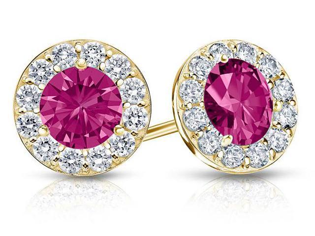 Created Pink Sapphire and CZ Halo Stud Earrings in 14K Yellow Gold 2.00.ct.tw