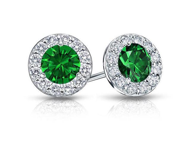 Created Emerald and CZ Halo Stud Earrings in 14K White Gold 1.50.ct.tw