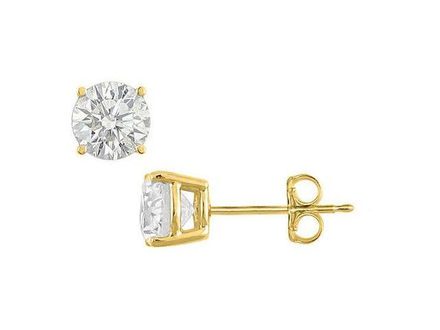 18K Yellow Gold Vermeil Sterling Silver Cubic Zirconia Stud Earrings Totaling Ten Carat CZ