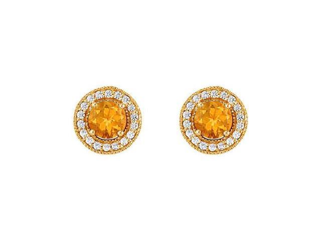 November Birthstone Citrine and Cubic Zirconia Halo Stud Earrings 14K Yellow Gold 2.50 CT TGW