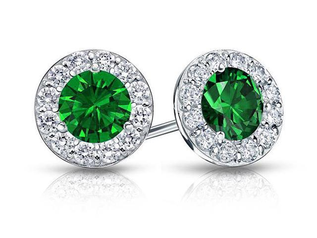 Created Emerald and CZ Halo Stud Earrings in 14K White Gold 2.00.ct.tw
