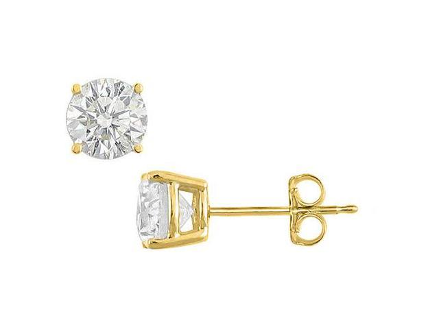 Sterling Silver with Vermeil  18K Yellow Gold Cubic Zirconia Stud Earrings 12 Carat Totaling CZ