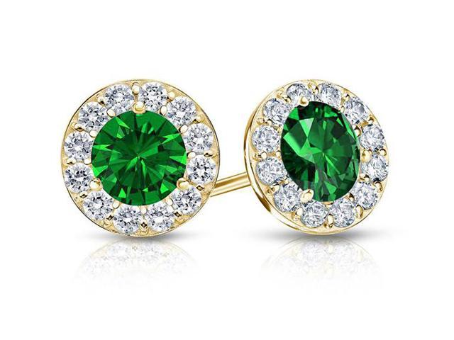 Emerald and White Diamond Halo Stud Earrings in 14K Yellow Gold 1.00.ct.tw