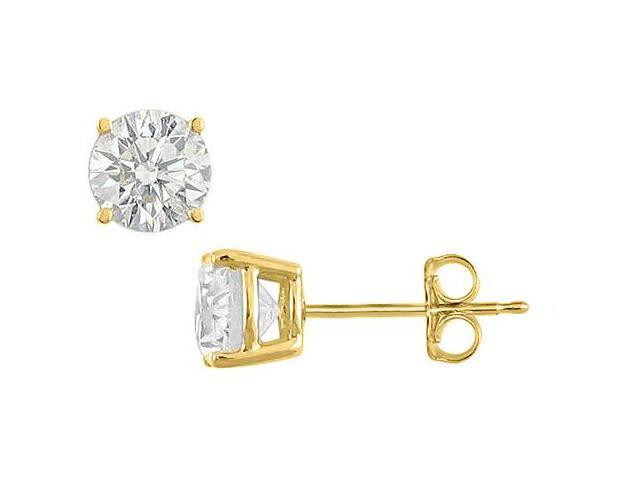 18K Yellow Gold Vermeil Stud Earrings Cubic Zirconia in Sterling Silver 15 Carat Total CZ Weight
