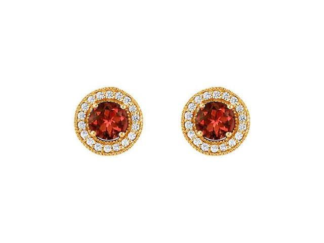 January Birthstone Garnet and Cubic Zirconia Halo Stud Earrings 14K Yellow Gold 2.50 CT TGW