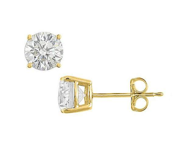 20 Carat Round Brilliant Cut CZ Stud Earrings in Sterling Silver 18K Yellow Gold Vermeil