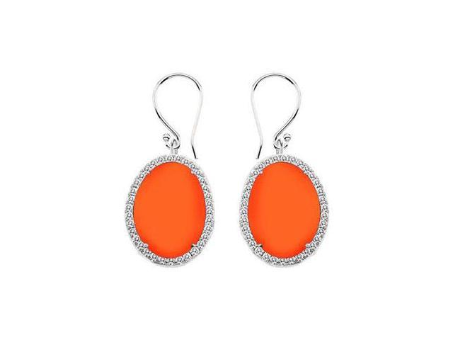 Sterling Silver Orange Chalcedony and Cubic Zirconia Earrings 31.00 CT TGW