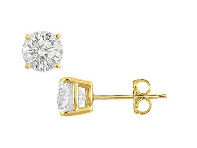 18K Yellow Gold Vermeil Sterling Silver 25 Carat Brilliant Cut Round CZ Stud Earrings