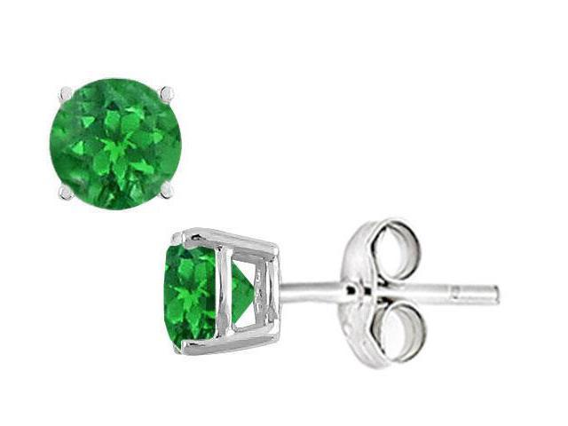 Frosted Emerald Stud Earrings in Sterling Silver 2.00 Carat Total Gem Weight