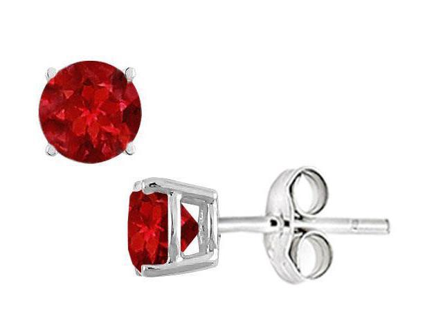 GF Bangkok Ruby Stud Earrings in Sterling Silver 2.00 CT TGW